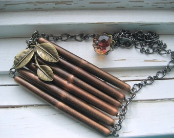 Twigs Pendant necklace, gunmetal chain necklace, brass leaves,