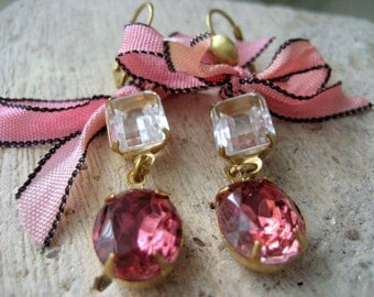 Marianne, Romantic Ribbon and Vintage Jewels Dangle Earrings for Her Gift Under 25