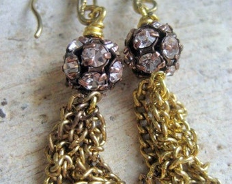 Brass Chain Dangle Earrings.Disco Queen. Vintage Pink Rhinestone Ball Brass Chain
