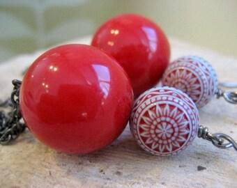 Lucite Earrings Gunmetal Chain Blue Red Ethnic Motif,  Vintage Beads. Beliz. Gift For Her Under 20