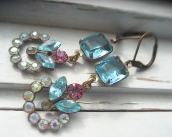 Marzipan Dangle Earrings. Vintage Rhinestone Earrings, bridesmaids, bridal accessory