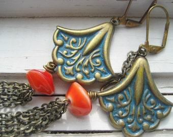 Shoulder Duster Earrings, long boho dangles, Moroccan verdigris chic. Gypsy, gift for her under 25