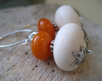 Solstice earrings, Vintage Lucite bead and silver