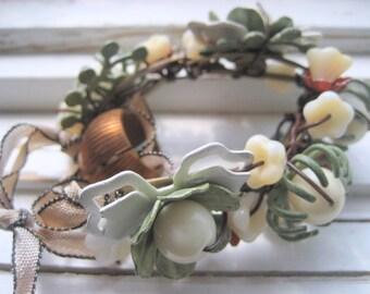 Meadow assemblage bracelet, vintage enamel flowers, collage cuff, spring floral bracelet