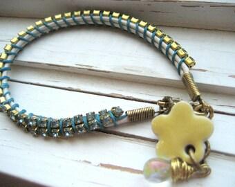 Summer Rain wrapped leather bracelet, rhinestone chain, tennis bracelet, leather cord bracelet, 70s style,