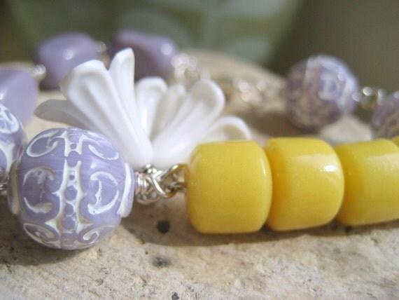 Lavender Honey Beaded Bracelet.  Carved Glass Bead Acrylic Flowers.