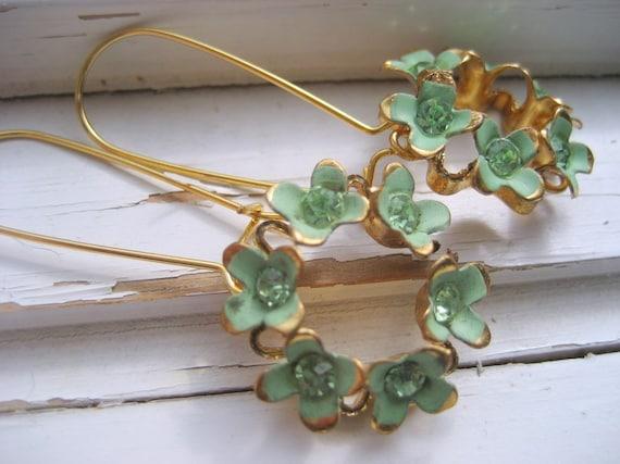 Repurposed Vintage Earrings Mint Green Enamel and Rhinestone Wreath Irish Bellflowers.