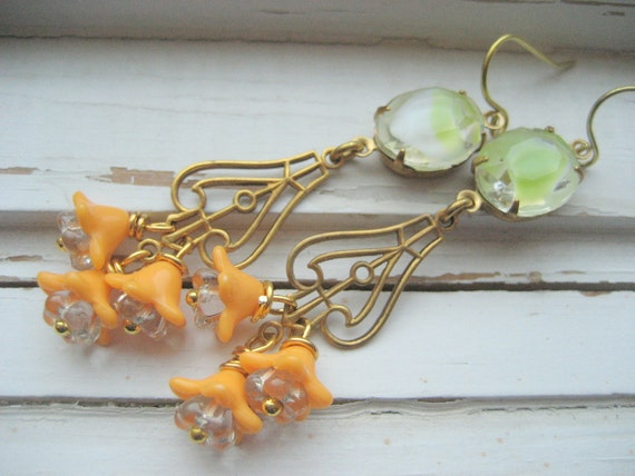 Neon dangle earrings, lime and mango, vintage glass and brass, acrylic flowers, Mint Granita
