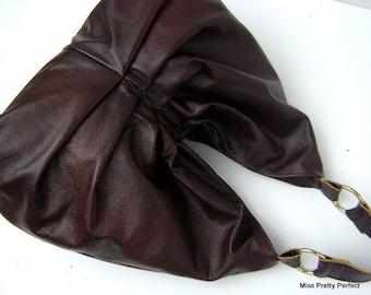 Large Leather Hobo, Pleated Leather Bag, Large Leather Gathered Hobo, Large Brown Hobo, Large Leather Shoulder Bag