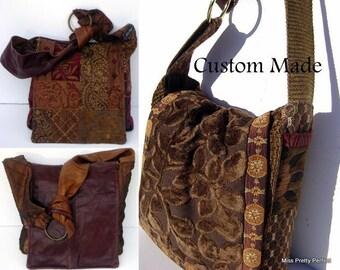 Patchwork Mixed Fabric Crossbody Messenger Bag