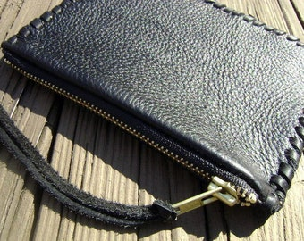Small Black Leather Laced Zippered Coin Pouch