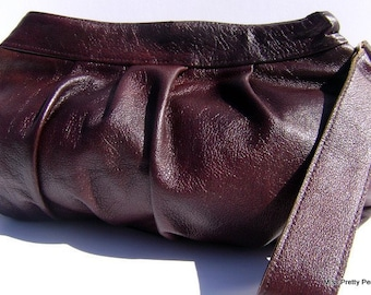 Rosa Brown Leather Gathered Clutch by MissPrettyPerfect