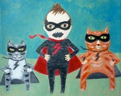 Superboy & Supercats - 6 x 6 inch Archival Print of Original Painting by Piper Anderson