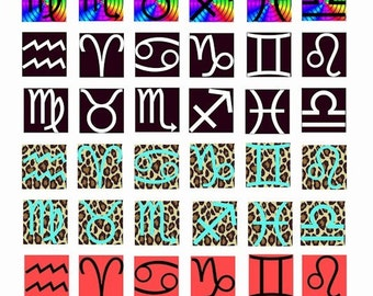 set of 4 astrological birth sign zodiac symbol digital download COLLAGE SHEET 1 inch squares rainbow leopard red black