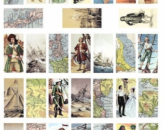 world maps pirates sailing ships digital download collage sheet 1x2 inch dominos image graphics printable