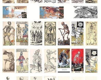 1x2 inch skeleton skull science anatomy domino collage sheet tarot clip art digital download day of the dead images printable graphics