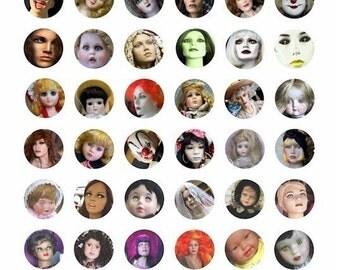 evil zombie dolls mannequins evil toys clip art collage sheet 1 INCH circles