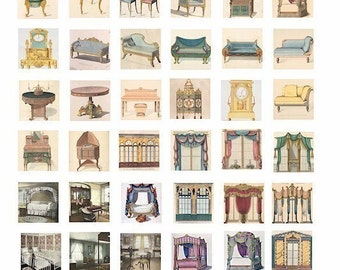 VINTAGE victorian furniture windows canopy beds chairs couches furniture interiors collages sheet 1 inch squares