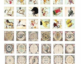 whats your sign zodiac birth signs clip art astrology charts digital download collage sheet 1 INCH squares image graphics