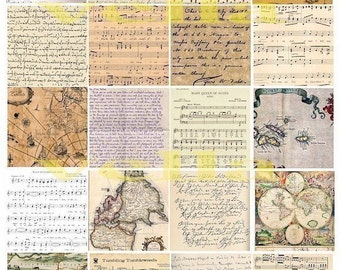 vintage handwriting maps sheet music collage sheet 2 INCH squares
