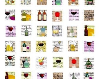 squares .75 x .83 drinking beer wine alcohol sheet music jewelry collage sheet for pendants charms pins