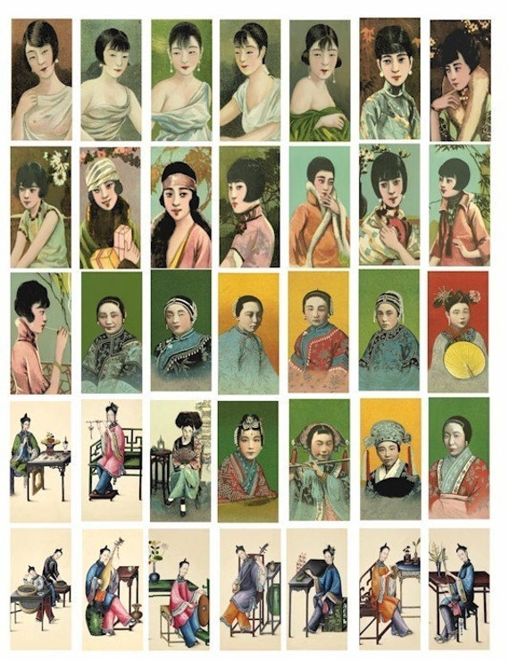 Asian Chinese girls  1x2 inch collage sheet cigarette cards printable art china girl clip art chinese women DOMINO SIZE