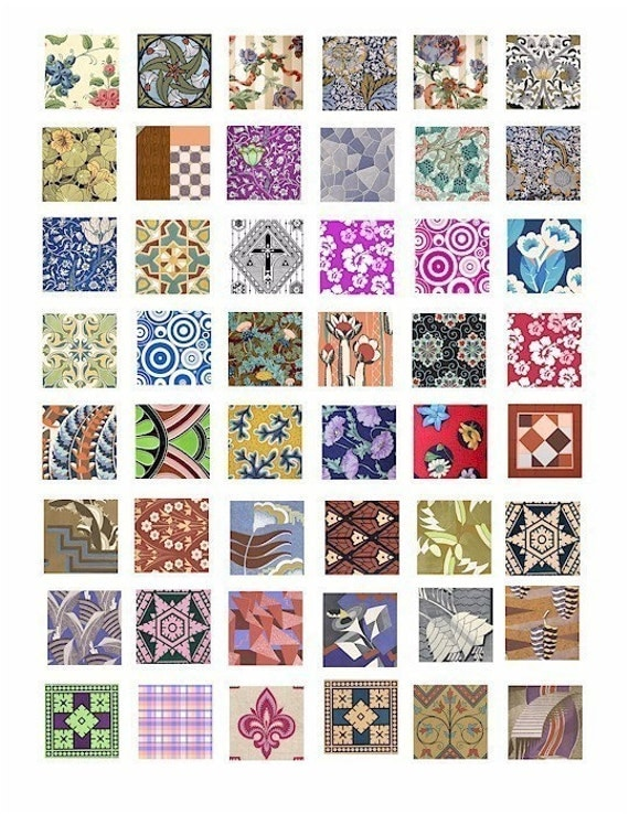 floral fabric textiles digital COLLAGE SHEET 1x1 INCH squares digital download graphics printables for jewelry pendants charms magnets