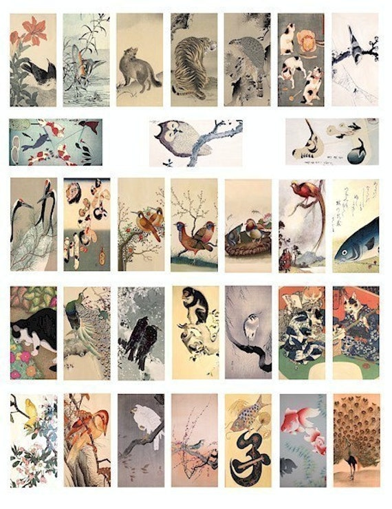 animal birds fish watercolor paintings domino collage sheet digital download 1x2 inch graphics images printable Vintage Japanese art trees