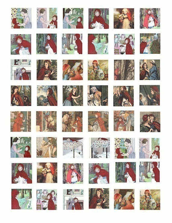 little red riding hood clip Art Collage Sheet 1 inch squares digital download graphics images fairy tale printables