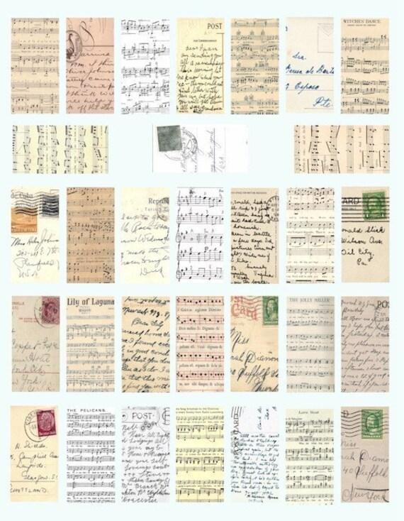 vintage postcard sheet music ephemera handwriting domino collage sheet digital download 1 BY 2 inch image graphics printable crafts