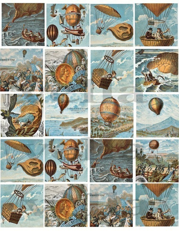 vintage flight hot air balloons 1800s french clip art collage sheet 2 inch squares clipart digital download image graphics art printables