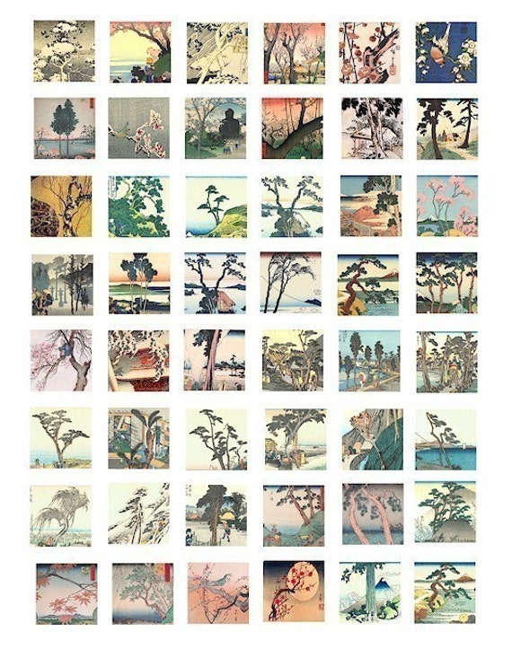 Asian Japanese trees blossoming tree woodblock art clip art collage sheet 1 inch squares digital download art graphics images printables