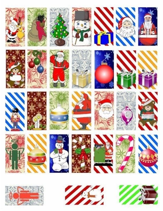 Santa Claus snowman ornaments christmas clipart domino COLLAGE SHEET digital download 1x2 inch images candy cane stripes