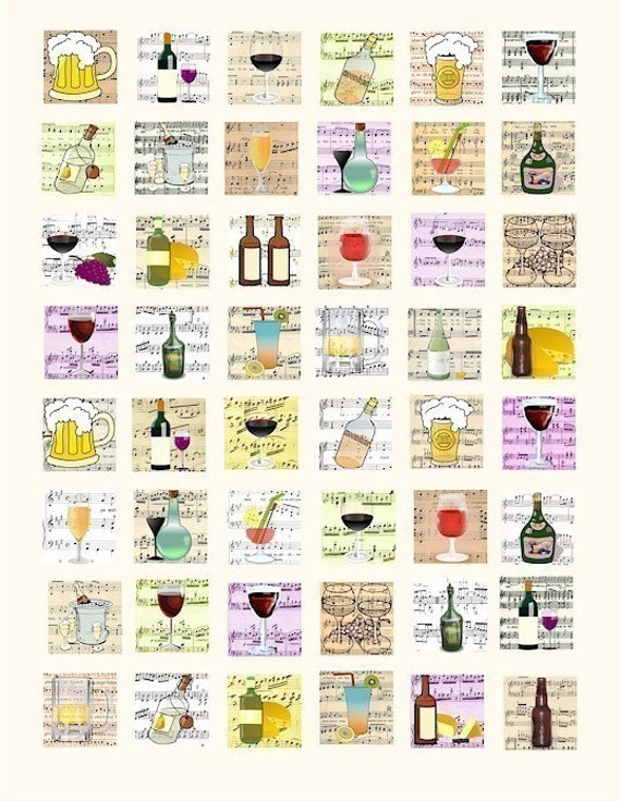 drinking beer wine alcohol drinks beverages sheet music squares collage sheet 1 inch squares graphics images printables