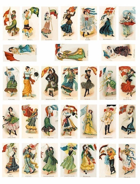 International Flag Girls clip art domino collage sheet 1 BY 2 inch digital download image graphics ethnic women