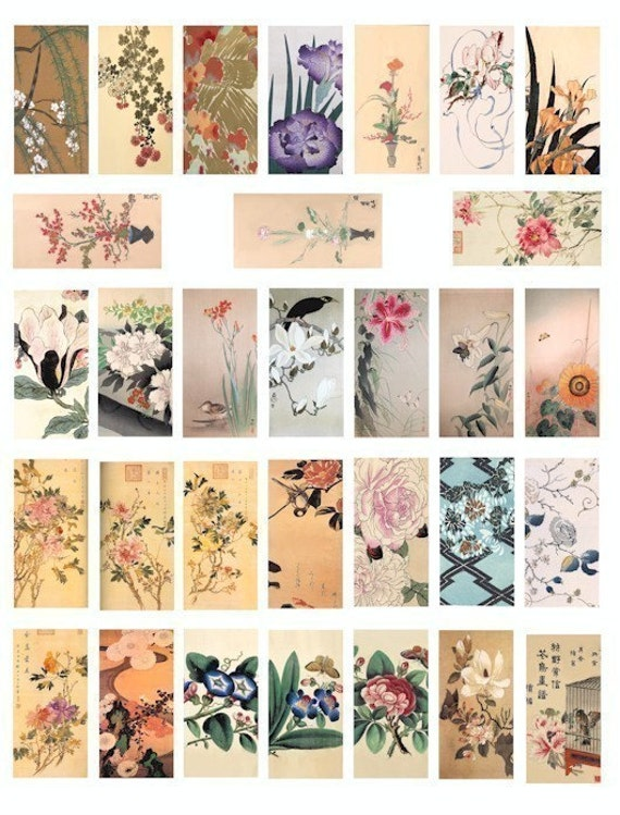 flower blossoms Japanese chinese watercolor paintings domino collage sheet 1x2 inch image graphics digital download art clip art printables