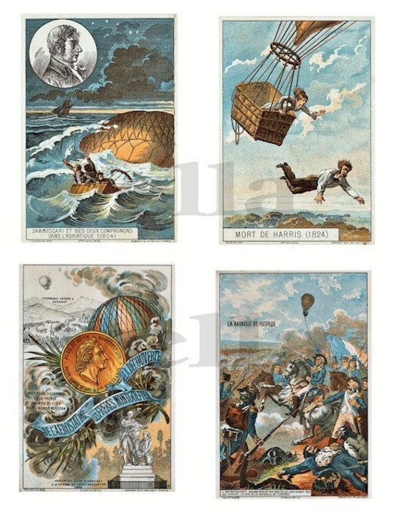 vintage flight air balloons 1800s france french clip art collage sheet aviation digital download art graphics images scrapbooking crafts
