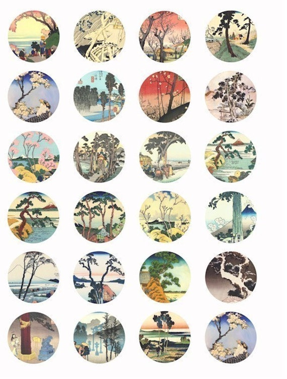 "blossoming trees landscape printable art collage sheet 1.5"" circles seascape clip art Vintage Japanese watercolor paintings graphics images"