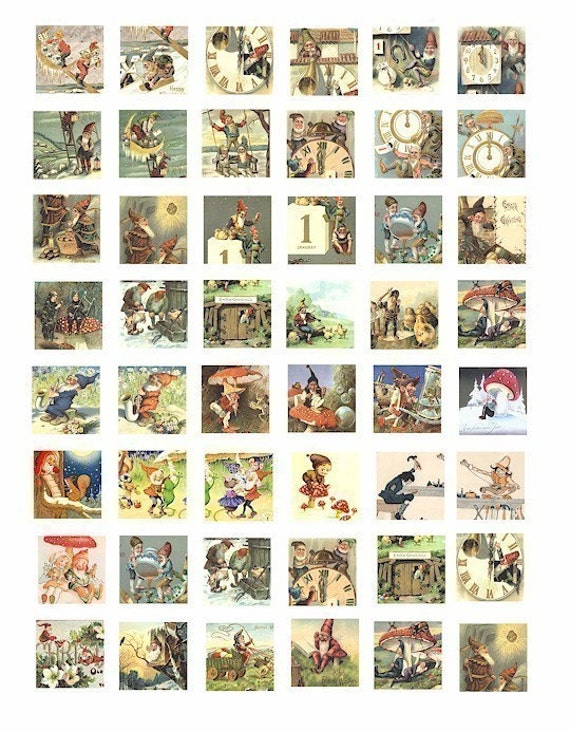 gnomes elves elf fantasy fairy tale digital download collages sheet 1 inch squares pendant magnets printable