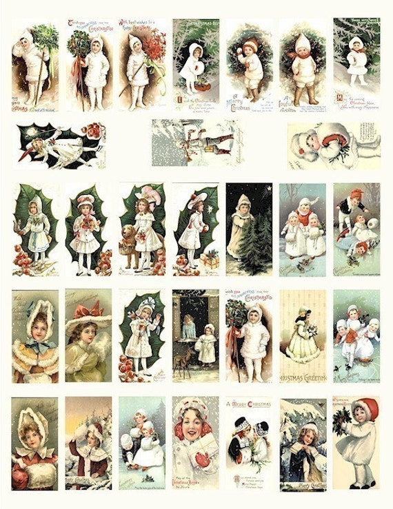 Vintage Christmas snow kids winter wonderland children boys girls digital download domino collage sheet 1x 2 INCH image graphics printable