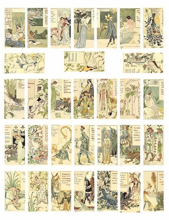 Retro floral nursery : Vintage forest flower garden fairy fairies 1800s art illustrations ...
