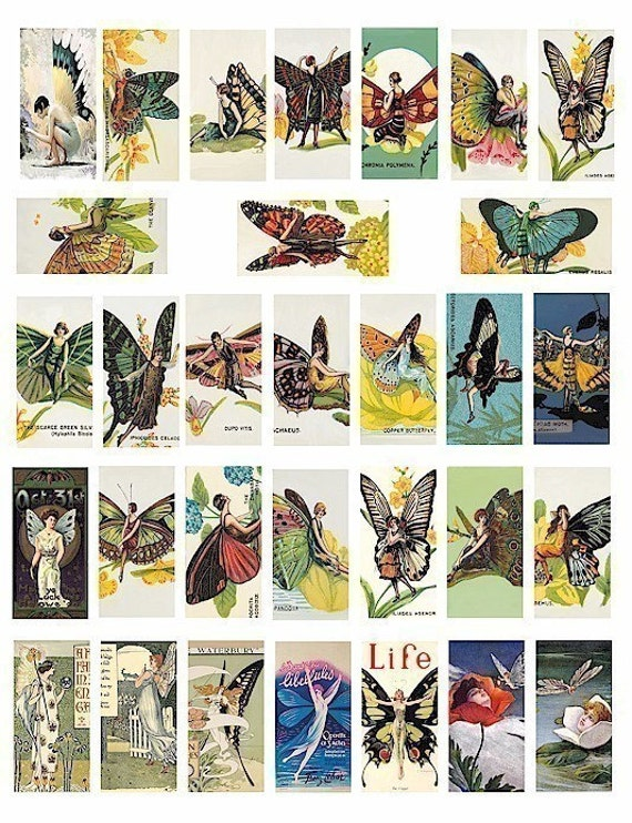 vintage art nouveau deco butterfly fairy fairies ILLUSTRATIONS clip art digital download domino collage sheet 1 x 2 inch image graphics