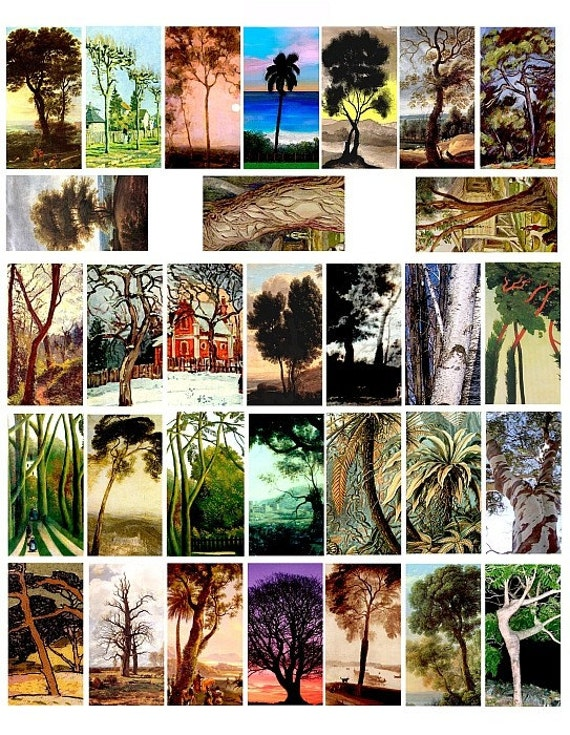 paintings pictures of tree trees domino collage sheet 1 x 2 INCH images clip art digital download graphics landscape printables
