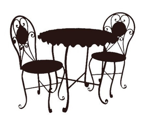 bistro cafe furniture set black clip art graphics image royalty free ...