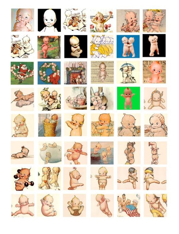 vintage kewpie doll clip art Collage sheet 1 INCH squares