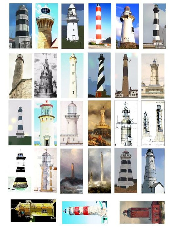 light house lighthouses clip art domino COLLAGE SHEET 1 x 2 inch image graphics digital download nautical clipart scrapbooking printables