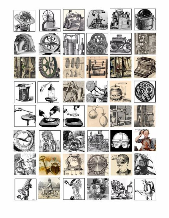 antique steampunk machines inventions science  hardware clip art 1 inch squares collage sheet digital download graphics images for pendants