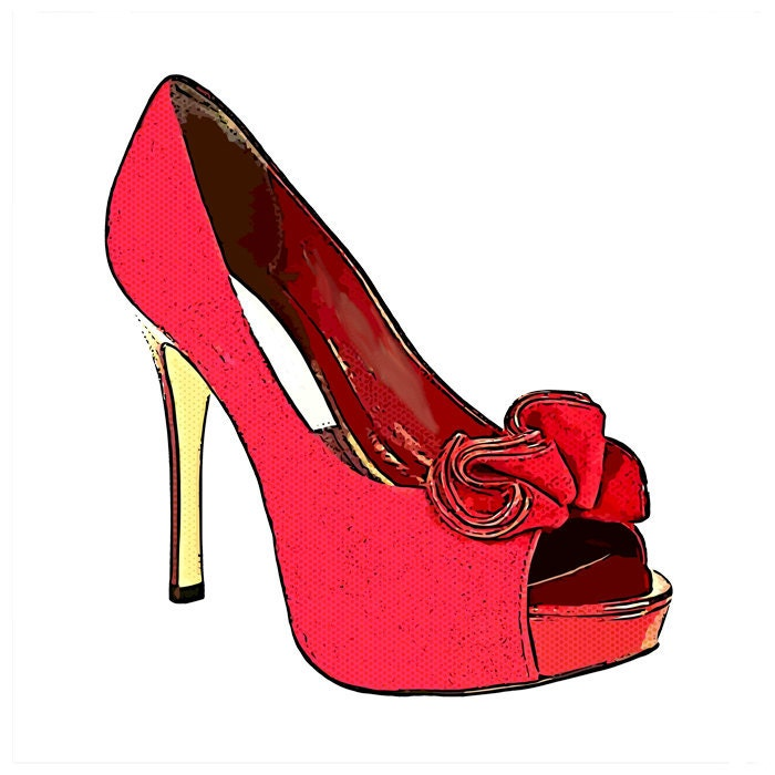 red bow high heel shoe womens fashion by DigitalGraphicsShop: https://www.etsy.com/listing/93699457/red-bow-high-heel-shoe-womens...