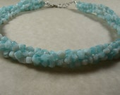 Chunky Light Blue Twisted Multistrand Glass Necklace, Azure