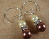 Stunning Pearl Earrings with Brown and Ecru Pearls and Swarovski Crystals